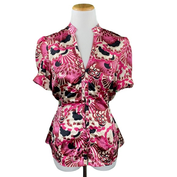 Guess Pink Floral Short Cuff Sleeve Belted V-Neck Blouse